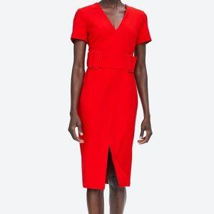 Zara Belted Midi Dress Red